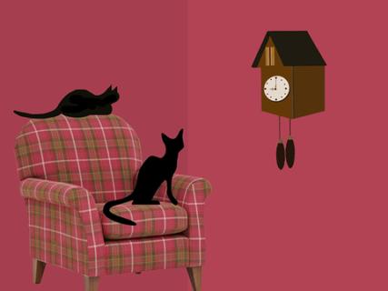 ピンクのチェックの椅子から壁掛け時計を見ている2匹の猫のイラスト