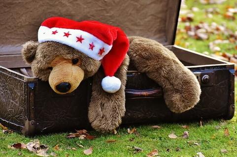 革のカバンに乗せられた赤い帽子を被った一体の熊の人形