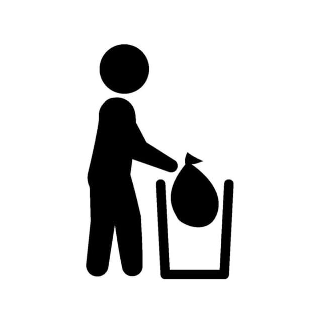 不必要なものを廃棄し断捨離する人のシルエット