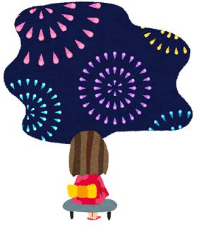 夜空に広がる花火を眺める浴衣を着た少女のイラスト