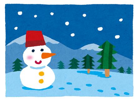 カップルが作った可愛い雪だるまが描かれた冬の景色のイラスト