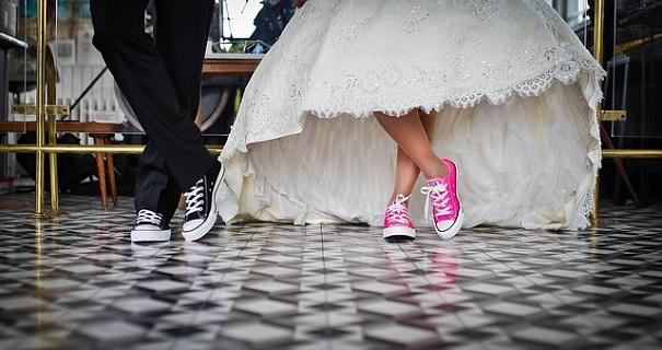 一人っ子同士の結婚式中のワンショット