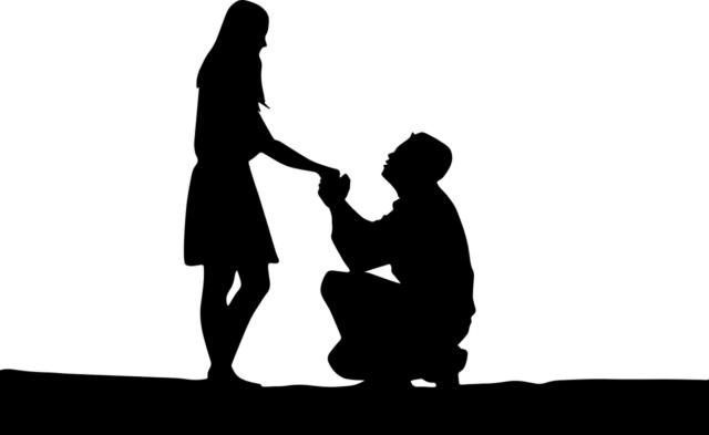 女性に求愛する男性が描かれたイラスト