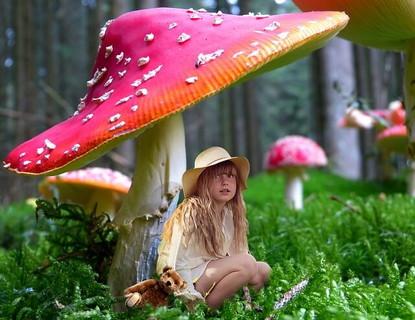 突然の雨に大きな赤いキノコの下で雨宿りをするクマのぬいぐるみを持った女の子