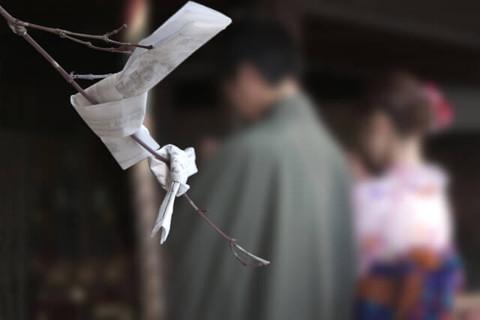 今年も良い一年になりますようにと着物姿で参拝するカップルと枝に結びつけられたおみくじ