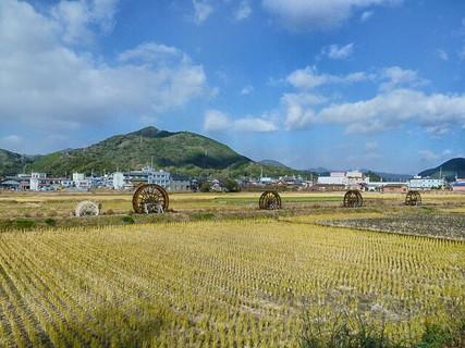 見ているだけで心が和む稲が刈り取られた田と水路に設置された水