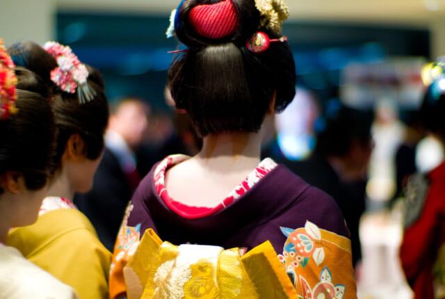 綺麗に髪を結いお上品に歩く京都の芸者さんの後ろ姿