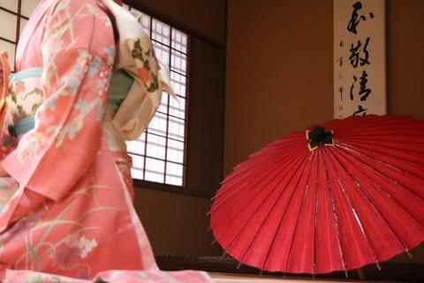 赤い和傘と畳みの上に座る淡いピンク色の振袖に白の帯と水色の帯揚げを合わた上品で清楚な印象の女性