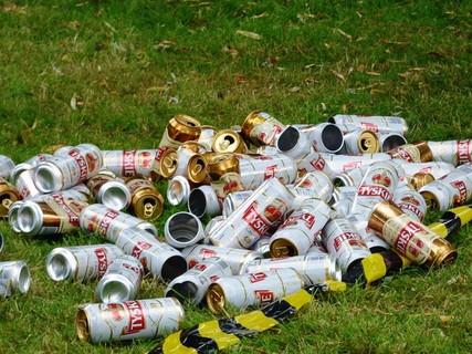 草むらに放置されたおびただしい数の空ビール缶