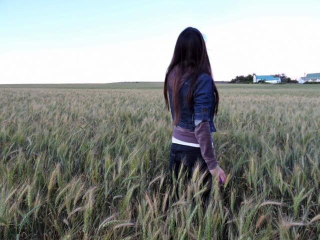 草むらの中にたたずみ風にきれいな黒髪をなびかせる女の子