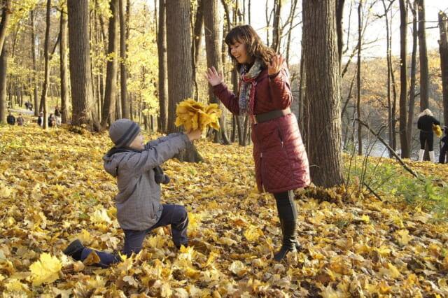 黄色く色づいた葉っぱを集めて渡す男の子と大げさなリクションをして喜ぶ優しいお母さん