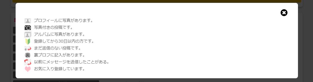 掲示板に表示されるアイコンの説明一覧