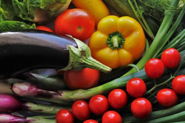 トマトやナス、パプリカなどの健康に良さそうなカラフルな野菜