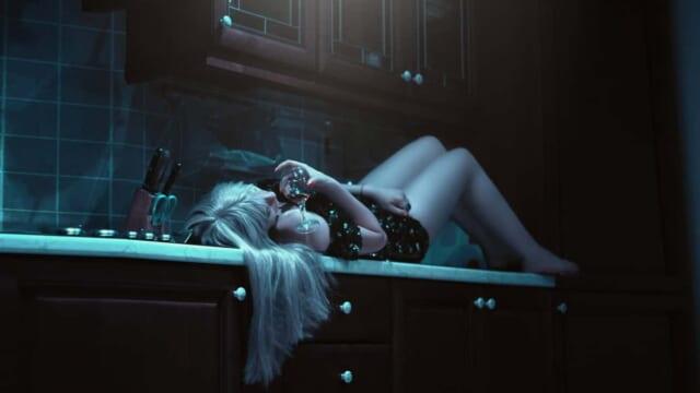 お酒に酔ってワイングラスを片手にキッチンのカウンターの上に寝転がる女の子