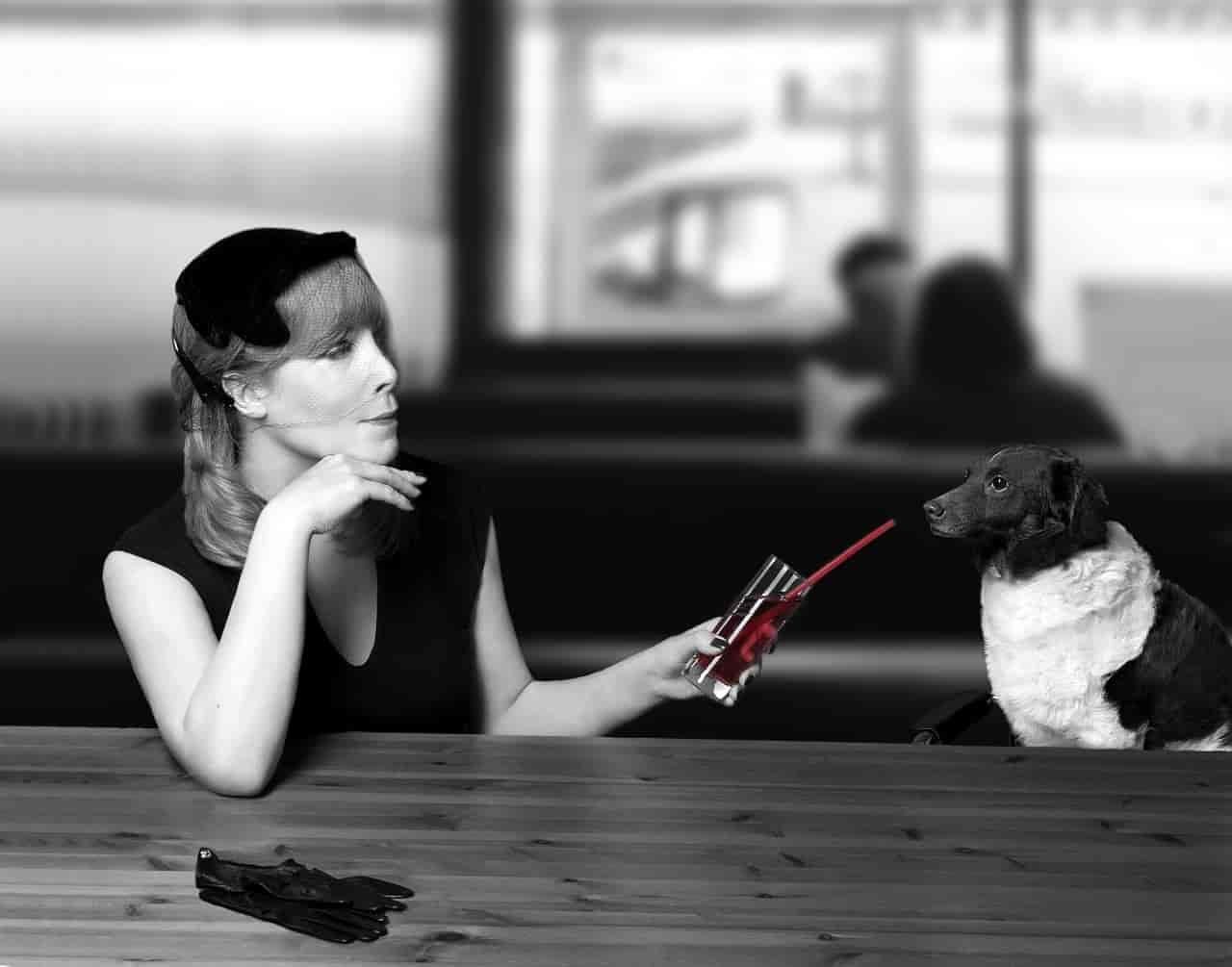 忘年会で「一口飲む?」と自分のお酒を差し出す女性のイメージ