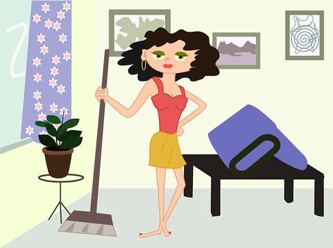 部屋を掃除しようとしている女性のイラスト