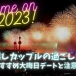新年を祝うため沢山花火が上がっているカップルで見たくなるような海辺のキレイな町の夜景